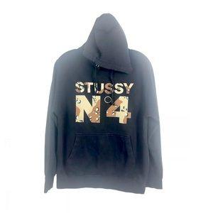 STUSSY No 4 Desert Camo Vintage Hoodie Sweatshirt